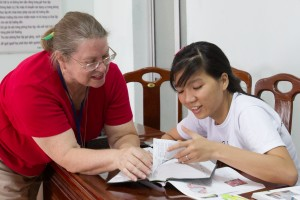 Cindy teaching English medical terminology