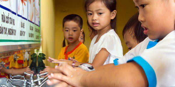 Children using new handwashing stations