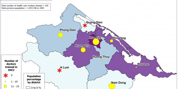 Population Distribution and IMCI Training Map
